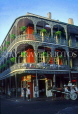 USA, Louisiana, NEW ORLEANS, French Quarter, ironwork balconies of famous Royal Cafe, LOU180JPL