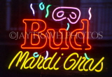 USA, Louisiana, NEW ORLEANS, French Quarter, neon lit 'Bud Mardi Gras' sign, LOU240JPL