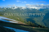 USA, Washington, Olympic National Park, snowcapped peaks and deer, US42586JPL