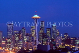 USA, Washington, SEATTLE, skyline and Space Needle Tower, night view, SEA116JPL