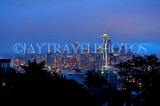 USA, Washington, SEATTLE, skyline and Space Needle Tower, night view, US4251JPL