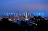 USA, Washington, SEATTLE, skyline and Space Needle Tower, night view, US4252JPL