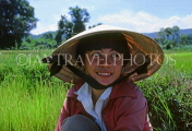VIETNAM, Dalat, woman (farmer) in rice field, VT475JPL