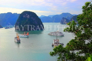 VIETNAM, Halong Bay, Ti Top Island, view towards limestone formations and cruise boats, VT1782JPL