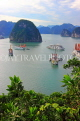 VIETNAM, Halong Bay, Ti Top Island, view towards limestone formations and cruise boats, VT1784JPL