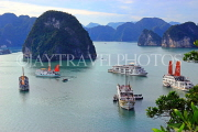 VIETNAM, Halong Bay, Ti Top Island, view towards limestone formations and cruise boats, VT1785JPL