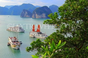 VIETNAM, Halong Bay, Ti Top Island, view towards limestone formations and cruise boats, VT1786JPL