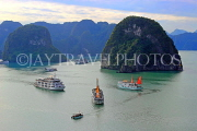 VIETNAM, Halong Bay, Ti Top Island, view towards limestone formations and cruise boats, VT1787JPL