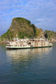 VIETNAM, Halong Bay, cruise boat and limestone formations, VT1866JPL