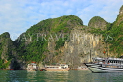 VIETNAM, Halong Bay, cruise boats and limestone formations, VT1859JPL