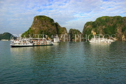 VIETNAM, Halong Bay, cruise boats and limestone formations, VT1861JPL
