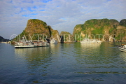 VIETNAM, Halong Bay, cruise boats and limestone formations, VT1863JPL