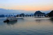 VIETNAM, Halong Bay, dawn, limestone formations and moored cruise boat, VT1819JPL