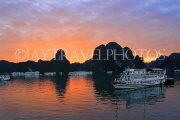 VIETNAM, Halong Bay, dawn, limestone formations and moored cruise boats, VT1813JP