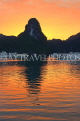 VIETNAM, Halong Bay, dawn, limestone formations and moored cruise boats, VT1818JPL
