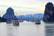 VIETNAM, Halong Bay, moored cruise boats, and limestone formations, VT1830JPL