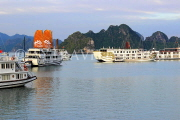 VIETNAM, Halong Bay, moored cruise boats and limestone formations, VT1827JPL