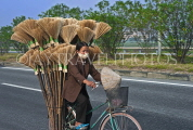 VIETNAM, Hoi An, vendor on bicycle loaded with brooms, VT701JPL