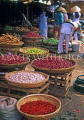 VIETNAM, Hue, market scene, onions, chillies arranged in baskets, VT350JPL