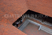 Vietnam, HANOI, Temple of Literature, courtyard and roof tops, tile work, VT848JPL